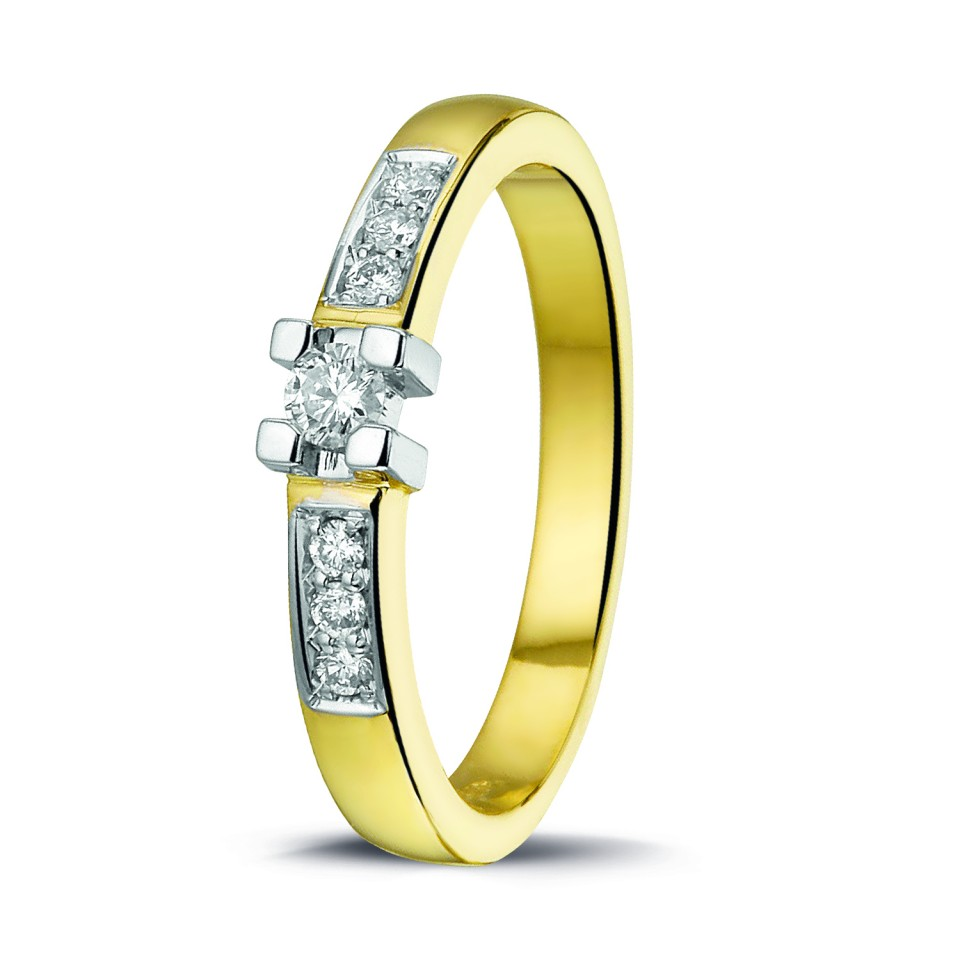 Geelgouden Briljant ring 0.16 Ct.