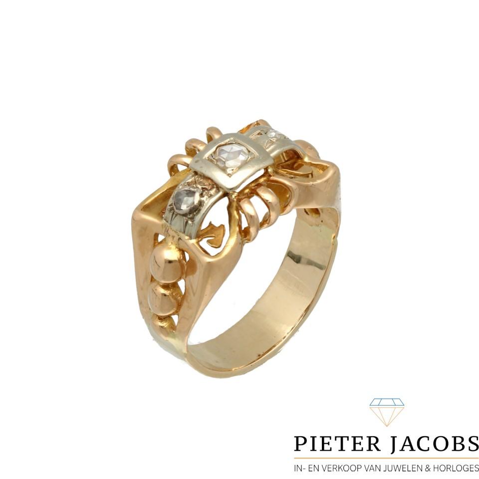 14 Krt. Antiek gouden ring bezet met Diamant Jaren '20