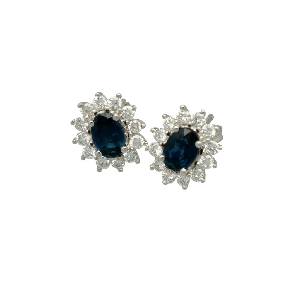 Witgouden Rozet oorbellen met Briljant (0.50Ct) en Blauwe Saffier