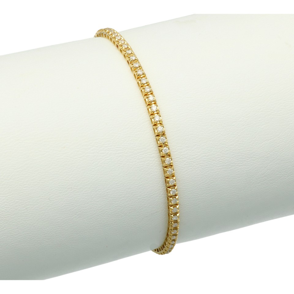 18Krt. gouden Tennisarmband  met Diamant. 1.03Ct.