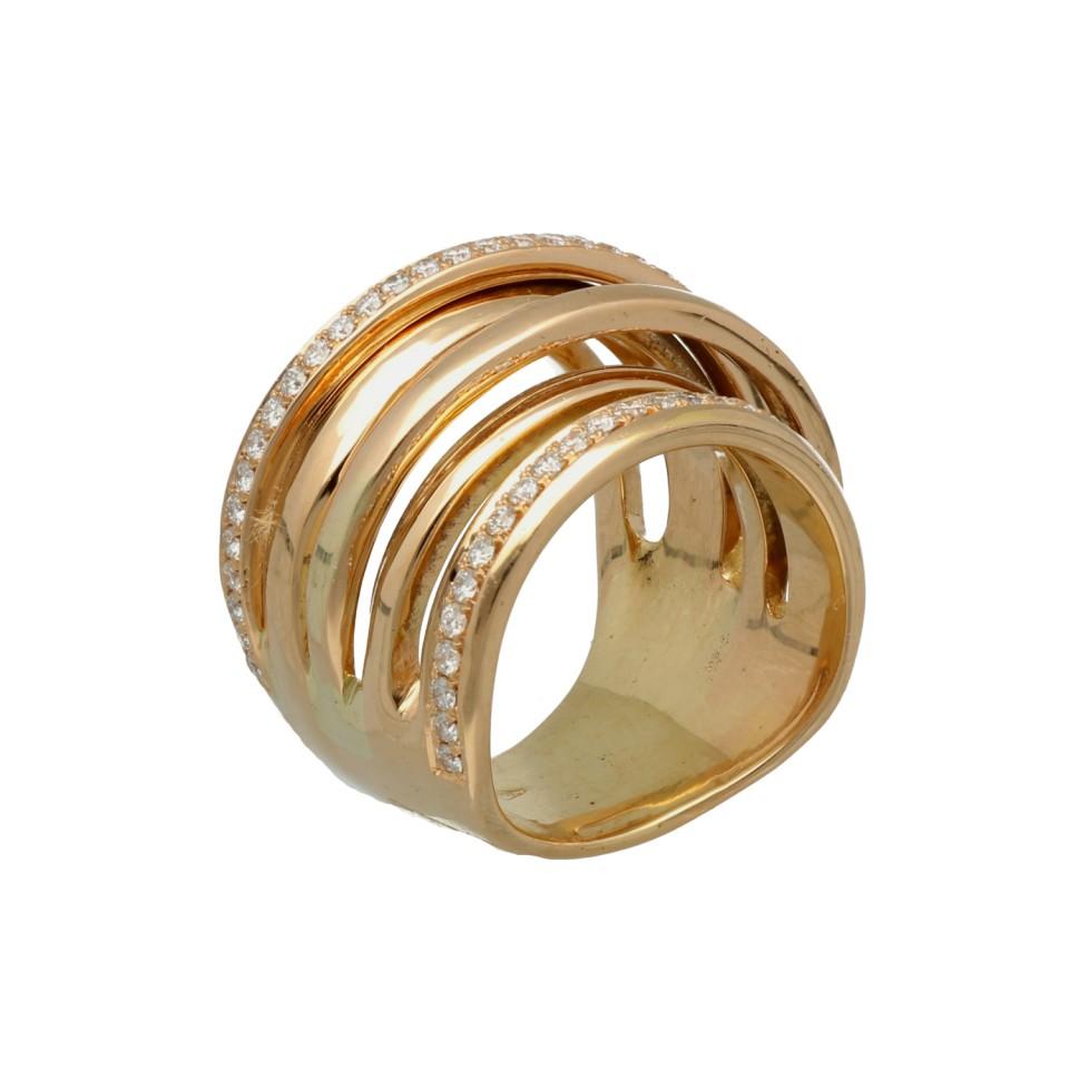 Rosé gouden fantasie ring bezet met 2 rijen briljant