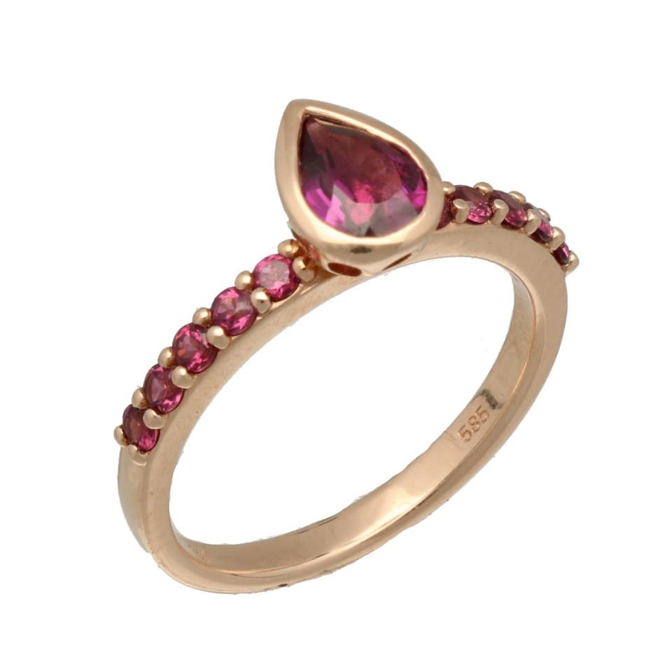 Rosé gouden ring met Rhodoliet