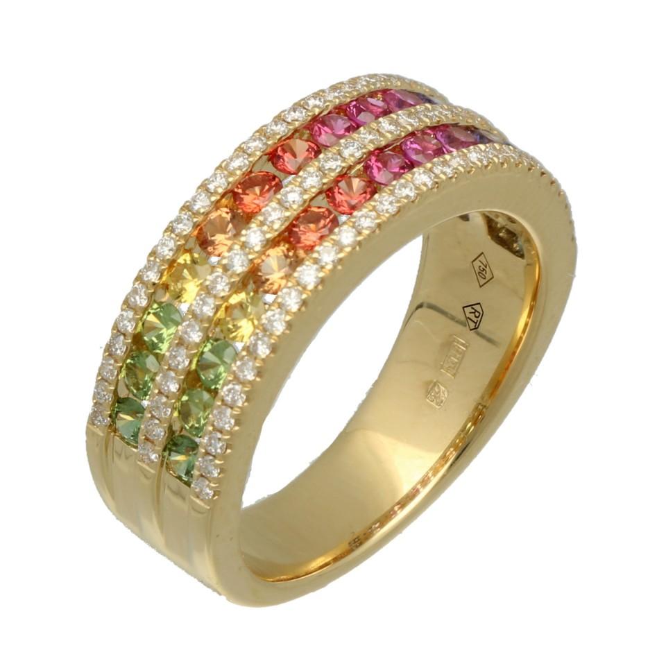 18Krt. gouden ring ''Rainbow Collectie'' Saffier en Briljant
