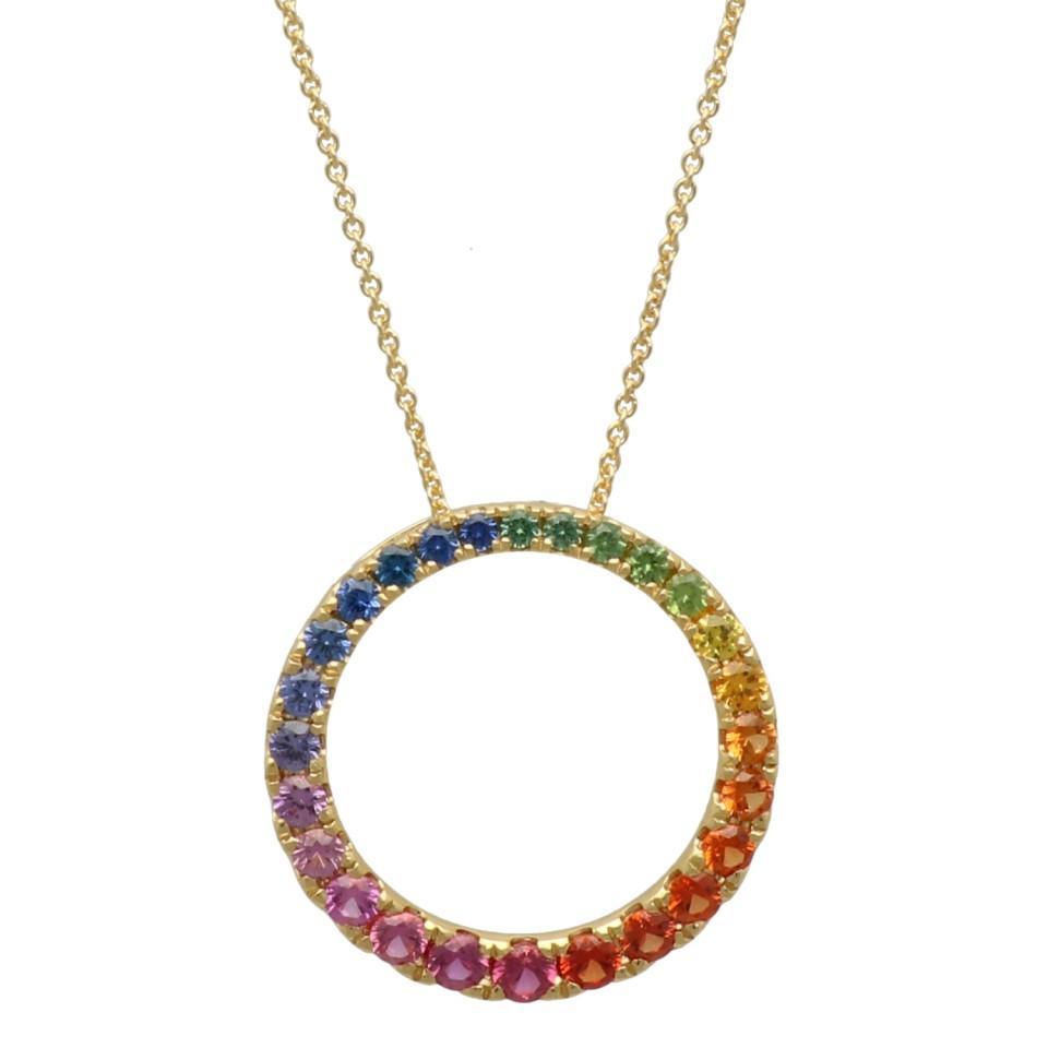 14Krt. goud collier ''Circle of Live'' van Saffier ''Rainbow collectie''