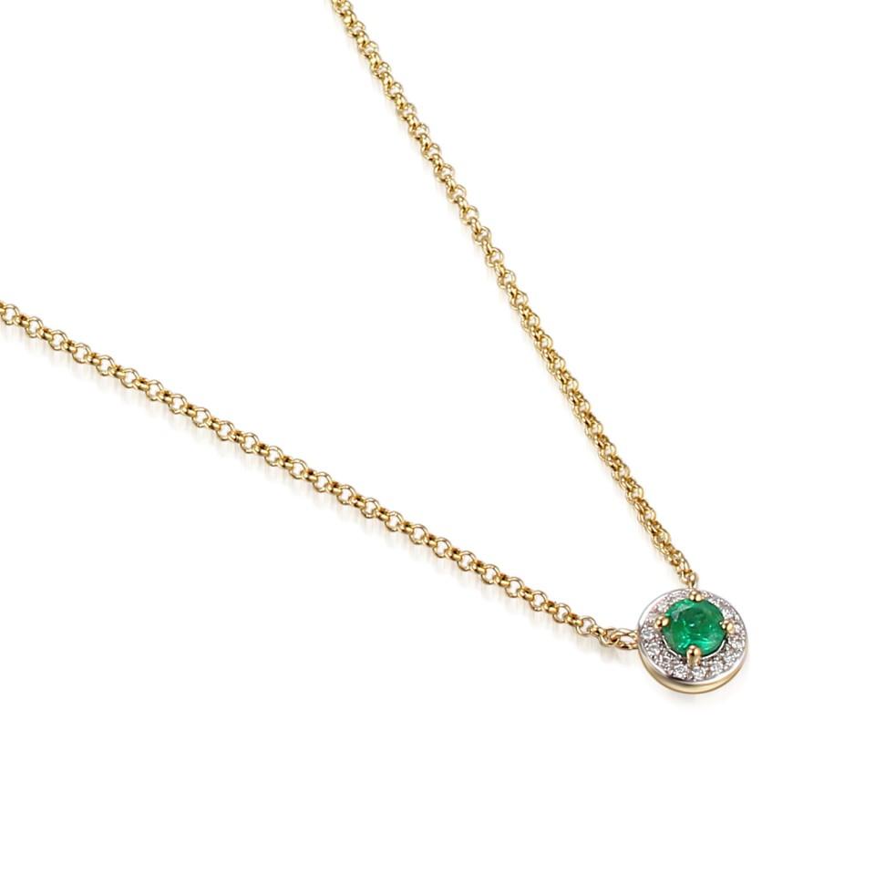 Gouden Collier met Diamant en Smaragd