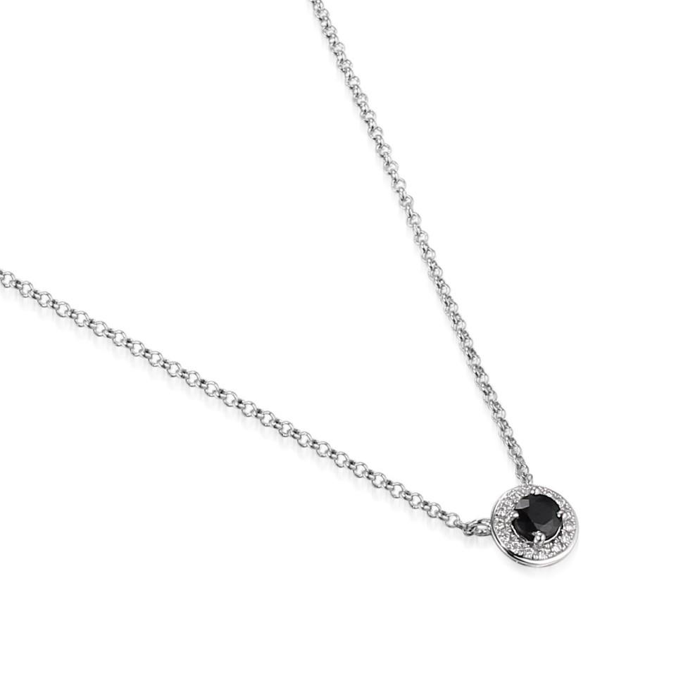 Witgouden Collier met Diamant en Blauwe Saffier