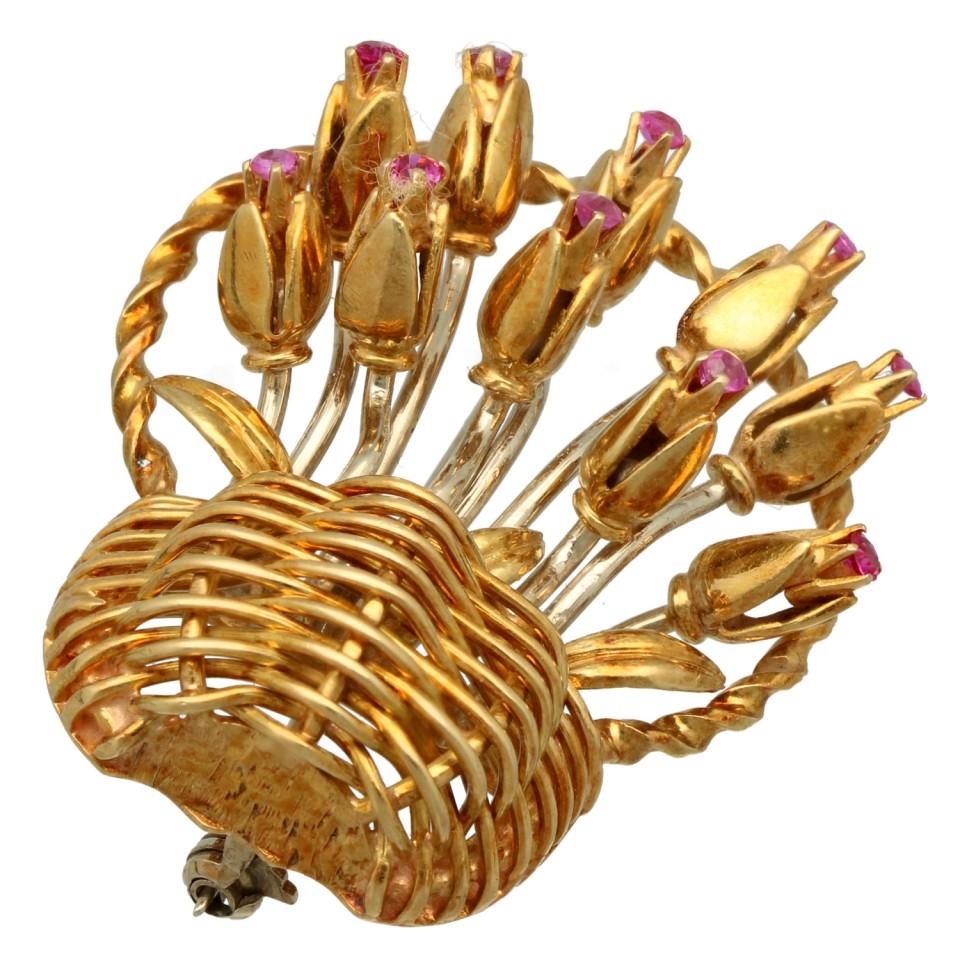 18 krt gouden broche: Mandje met Tulpen. Handgemaakt!