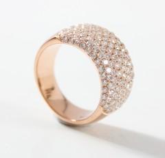 18 krt brede Rosé gouden Briljant ring 2.45 Ct