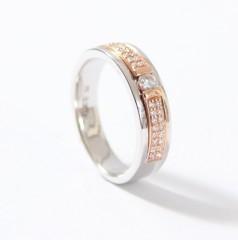 14krt. gouden Bi-color ring met Briljant