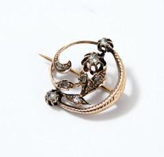 14 krt Art nouveau broche Roosgeslepen Diamant