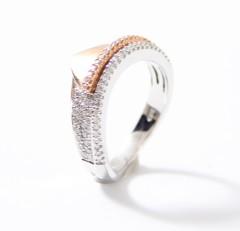 14 krt. gouden Bi-color ring met Briljant