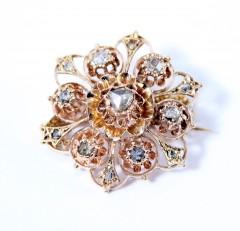 Rose gouden Broche met Roosdiamant ca. 1900