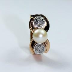 Antiek gouden ring met Roosdiamant en Parel