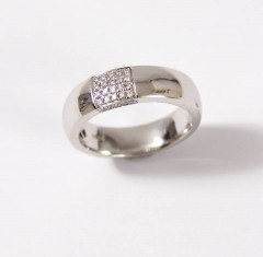 14 Krt. witgouden briljant ring