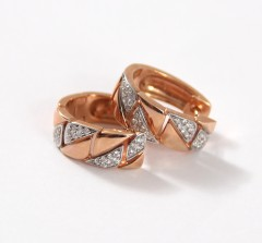 14 krt Rosé gouden Briljant oorbellen