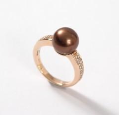 14 krt Rosé gouden Briljant/Parel ring