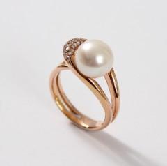 14 krt Rosé gouden ring met Briljant en Parel