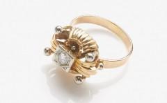 14 krt diamant ring. Art nouveau ca. 1940