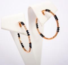 18 Krt. gouden oorringen Black & White Diamonds
