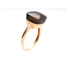 18 Krt. Rose gouden ring gezet met Rooktopaas