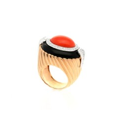 18 krt Rosegouden ring diamant-koraal-onix