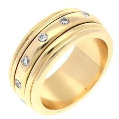 18 Krt. briljant ring. Rond draaiende ring