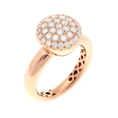 18 Krt Rosé gouden ring met briljant 0.91 Ct
