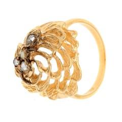 Handgemaakte Vintage Gouden ring met Diamant