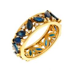 Handgemaakte ring 18Krt. goud met Briljant & Saffier