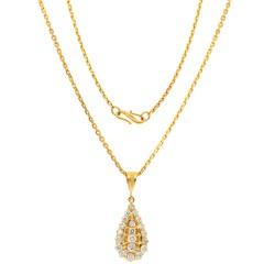 22 Krt. gouden collier, hanger gezet met Briljant ca. 1.00Ct.