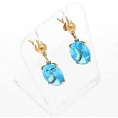 14 Krt. Gouden oorbellen gezet met Ovaal blauwe topaas