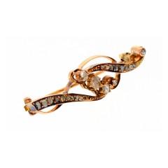 Antiek gouden broche met Roos geslepen diamant ca.1920