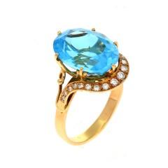 Handgemaakte ring van 14Krt. goud met Blauwe topaas & Briljant