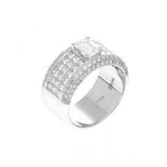Witgouden Diamant ring met Emerald van 1.00 Ct
