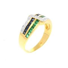 14 krt geelgouden ring met smaragd saffier en diamant