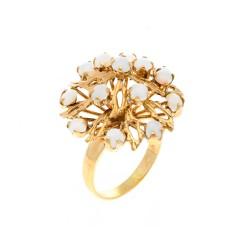 14 Krt. geelgouden Rozet/fantasie ring met opaal