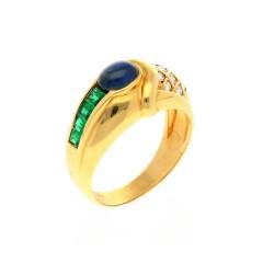 18 krt. gouden ring met smaragd saffier & briljant