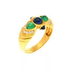 18 krt ring met smaragd, blauwe saffier en briljant