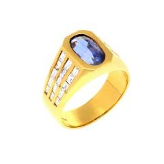 18 krt diamant ring met iolith