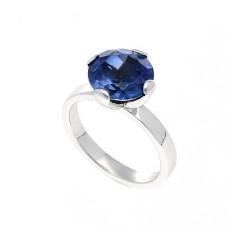 14 Krt. Witgouden ring gezet met Blauwe saffier