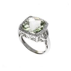 18 Krt Witgouden ring met Peridot en Diamant.