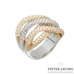 18 krt Tri-color Briljant ring met Pavé zetting 3.5 Ct