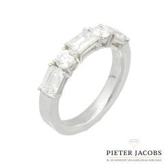 Witgouden Diamant ring, Asscher Cut. 2.15 Ct