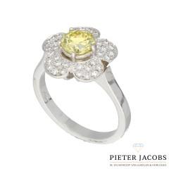 18 Krt ring Fancy Color Diamant 0.85 Ct