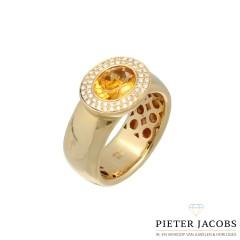 14Krt. gouden ring met Citrien & Briljant