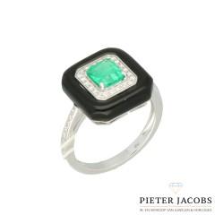 18 Krt ring Onix-smaragd-briljant 0.16Ct.