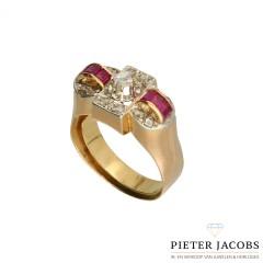 18 Krt.ring vintage, ca 1930 Diamant & Robijn