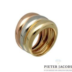 Moderne 14Krt. gouden Tri-color ring € 895,- nu € 585,-
