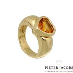 Piaget hart ring, 18 krt goud met Citrien