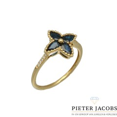 Elegante ring met Briljant en Blauwe Saffier